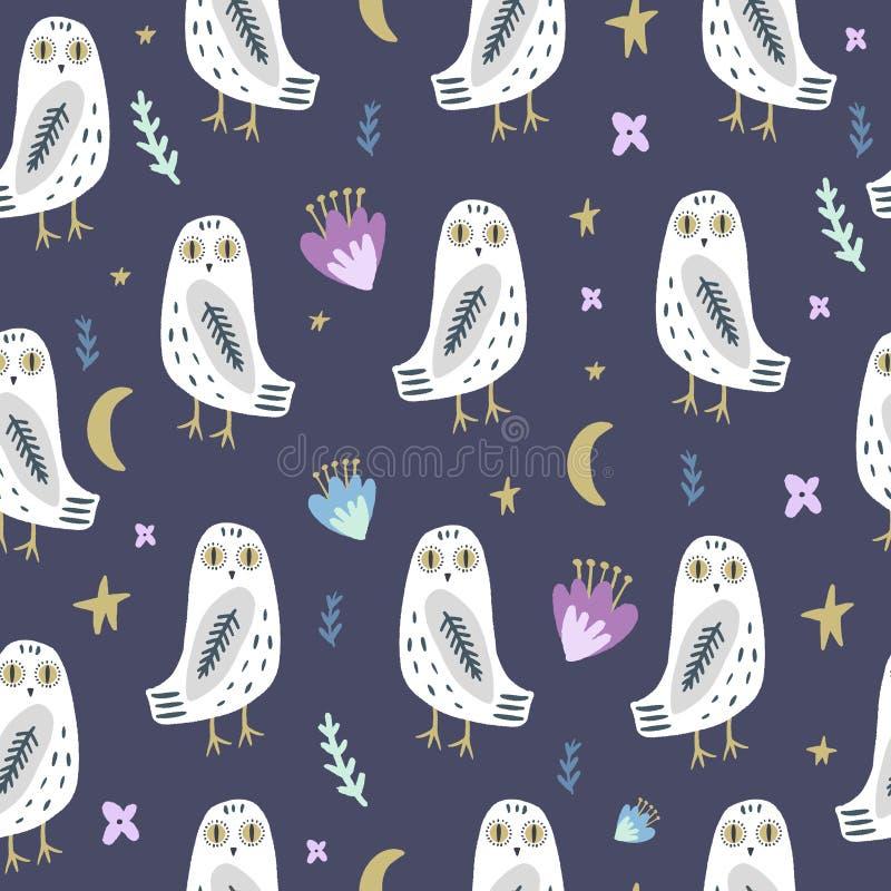 多雪的猫头鹰艺术无缝的样式,睡衣派对,逗人喜爱的漂泊白色极性鸟 皇族释放例证