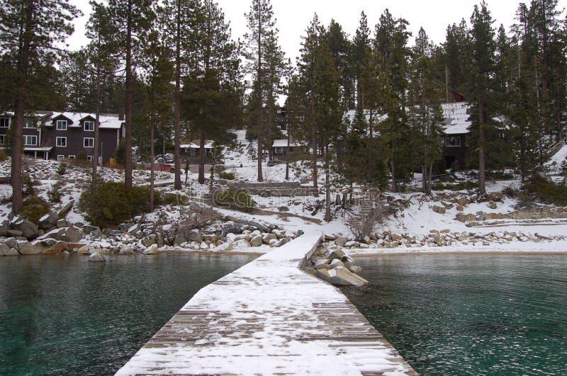 多雪的码头 库存照片