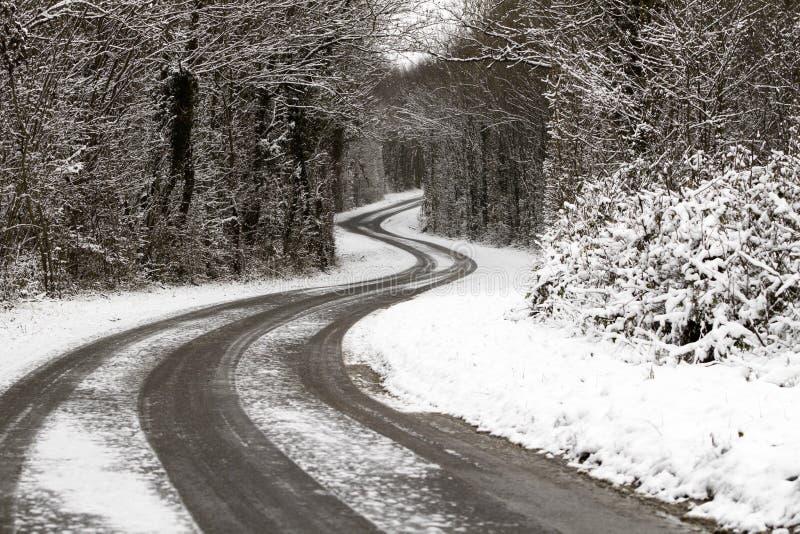 多雪的路 库存图片