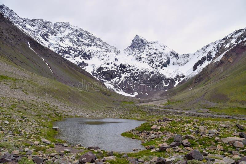 多雪的高山风景与湖的 免版税库存图片