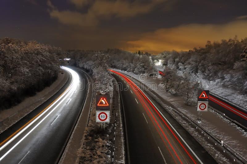 多雪的高速公路 库存图片