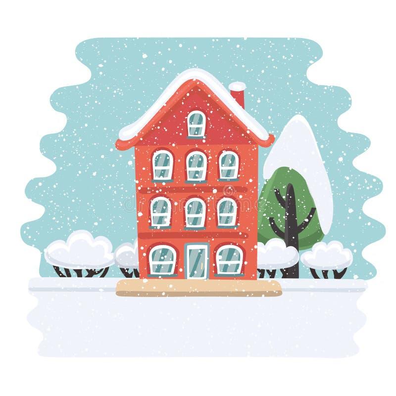多雪的landskape的冬天房子 向量例证