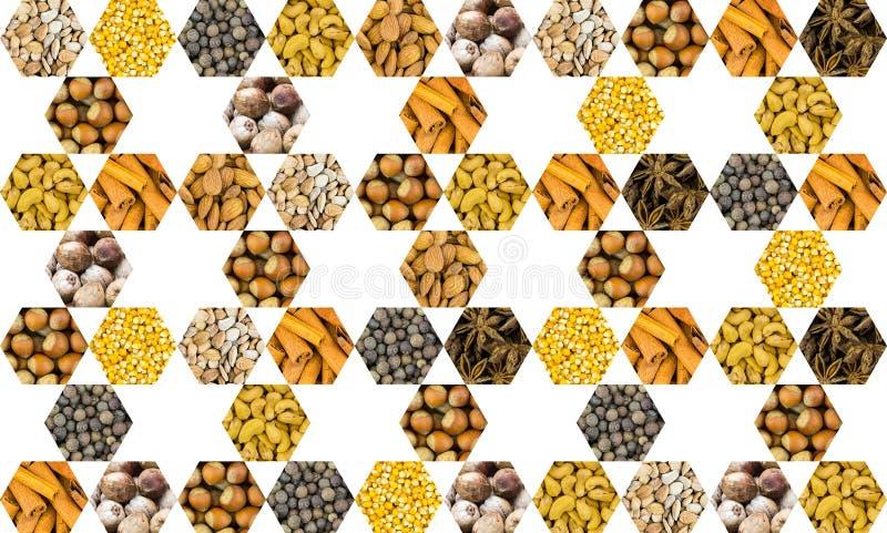 多面的胡说的香料被折叠的象的几何样式在一个白色背景菜单烹饪基地的一个六角集合堆积的  免版税库存照片
