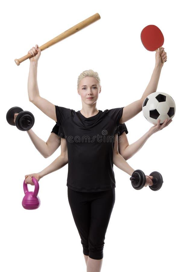 Download 多任务炫耀妇女 库存图片. 图片 包括有 棒球, 哑铃, 休闲, 水池, 突出, 多任务, 生活方式, 保留 - 72357917