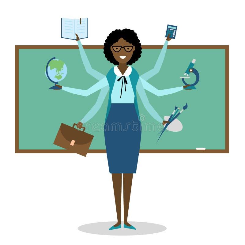 多任务纯熟非裔美国人的老师 库存例证