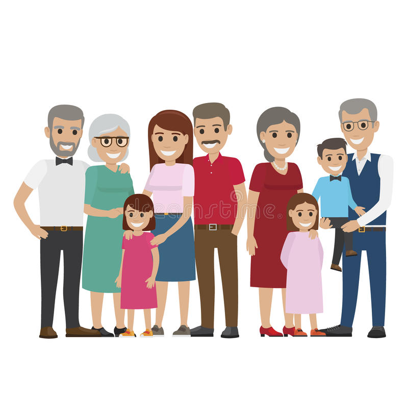 多代的在白色的家庭五颜六色的照片 向量例证