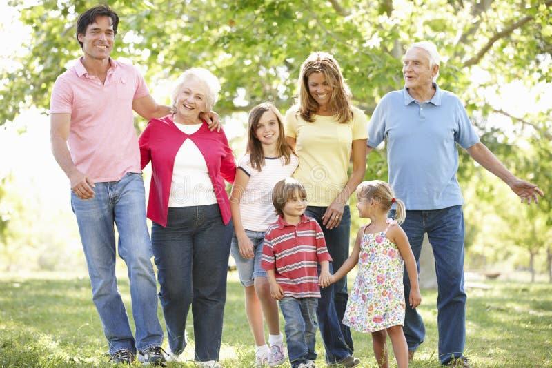 多代的家庭在公园 库存图片