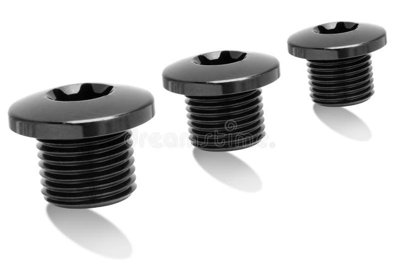 多黑铁优美的螺栓 免版税库存图片