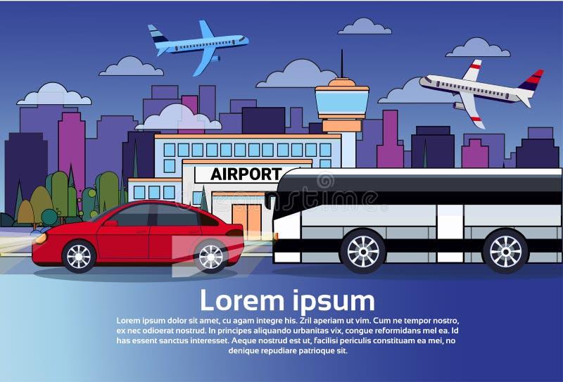 夜与公共汽车和汽车的公路交通在城市大厦和飞机在黑暗的天空 库存例证