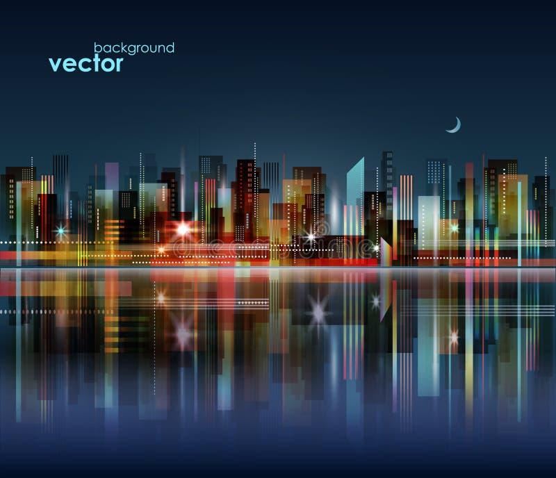 夜与反射的城市地平线水表面,例证上 向量例证