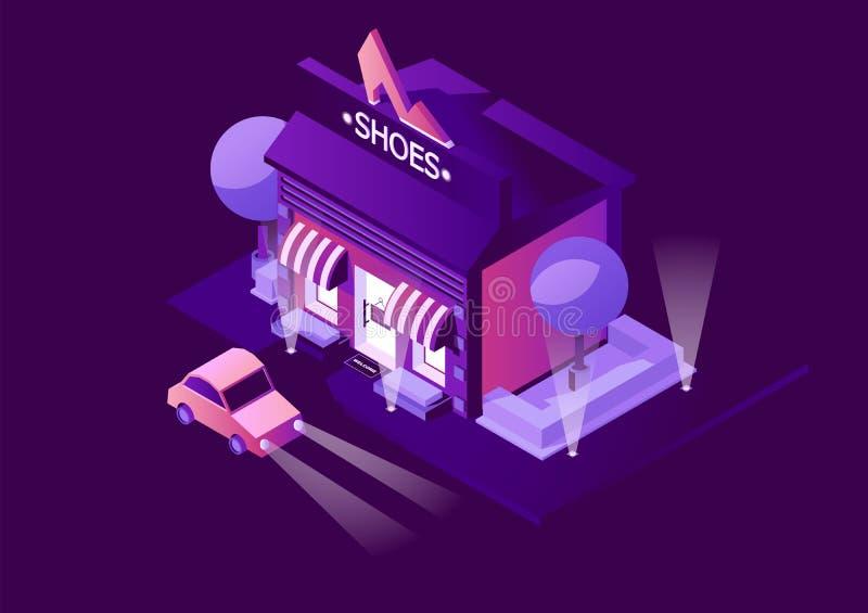 夜与鞋店场面的传染媒介例证 在户外城市风景的等量大厦,画在紫色生动的梯度 C 向量例证