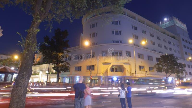 夜交通在胡志明 库存图片