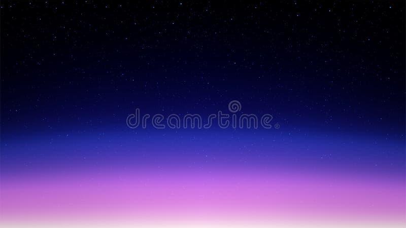夜光亮的满天星斗的天空,与星的桃红色蓝色空间背景, 向量例证