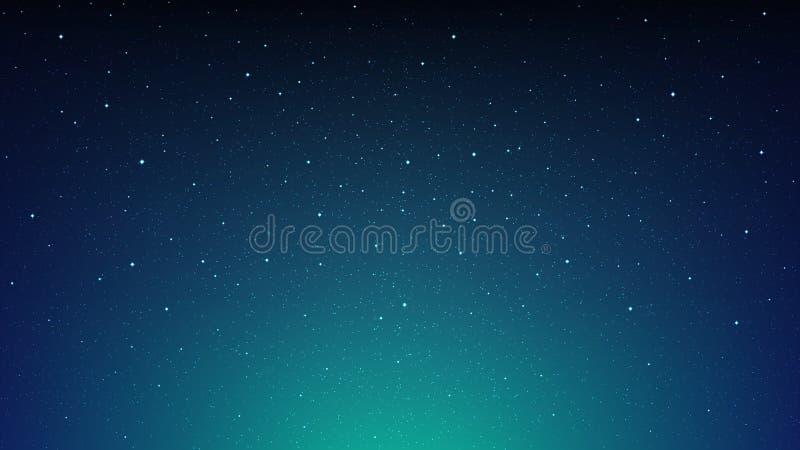夜光亮的满天星斗的天空,与星的蓝色空间背景,波斯菊 皇族释放例证