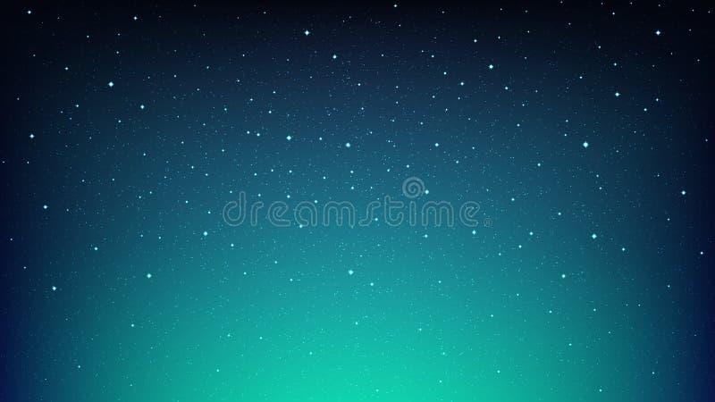 夜光亮的满天星斗的天空,与星的蓝色空间背景 库存照片