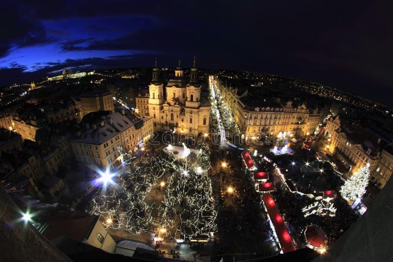 夜光在布拉格 库存照片