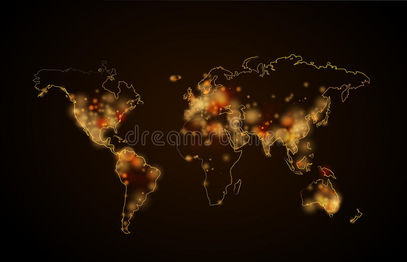 夜光在行星的城市,从空间的世界地图视图 库存例证