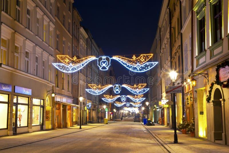 夜克拉科夫在波兰,弗洛里安的街道 库存图片