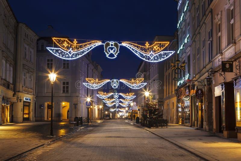 夜克拉科夫,弗洛里安的街道 库存图片