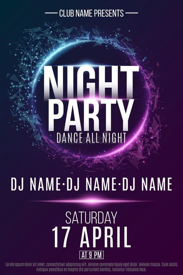 夜党的海报 欢乐几何霓虹飞行物 从几何结节微粒的横幅 俱乐部和DJ的名字 传染媒介illu 向量例证