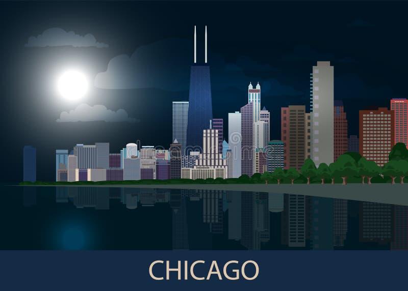 夜全景芝加哥市街市与摩天大楼、密执安湖、绿色树和满月在深蓝天空 都市风景,看法, 向量例证