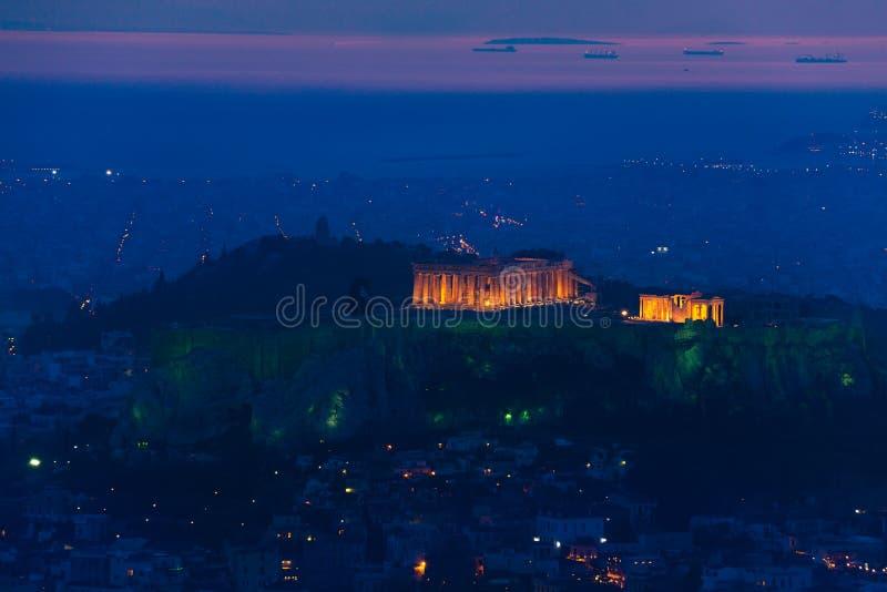 夜全景,帕台农神庙寺庙,雅典在希腊 图库摄影