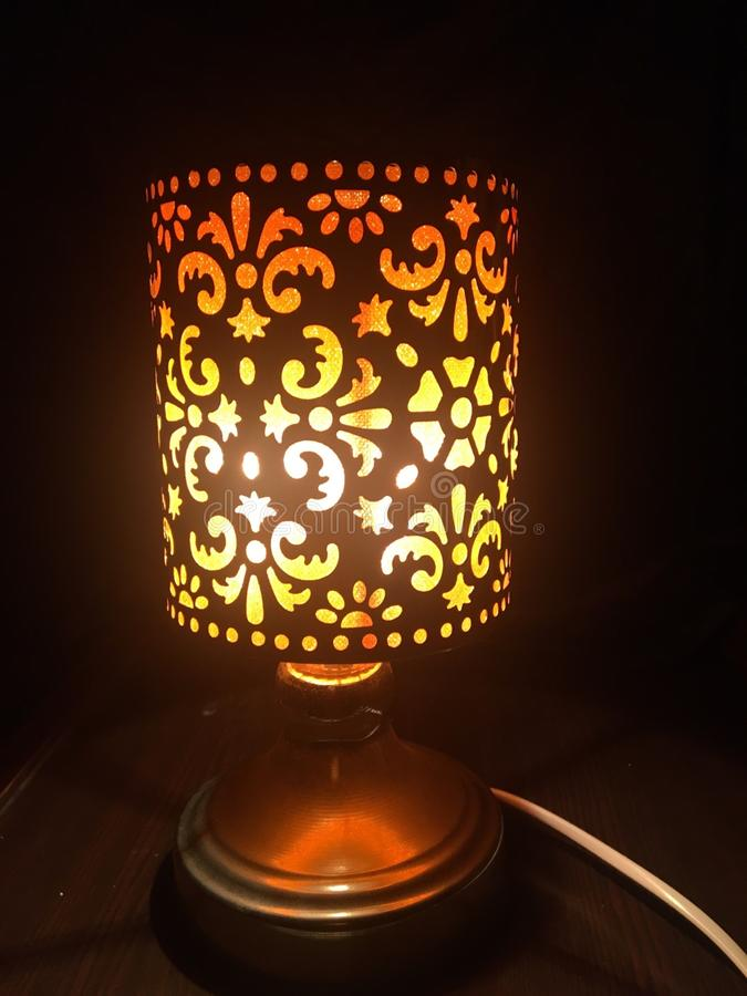 夜具体点燃的橙色接触夜光 免版税图库摄影