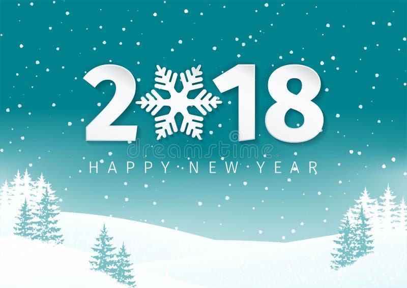 夜冬天与多雪的领域和冷杉木的风景背景 新年快乐2018与雪花的文本设计 向量例证