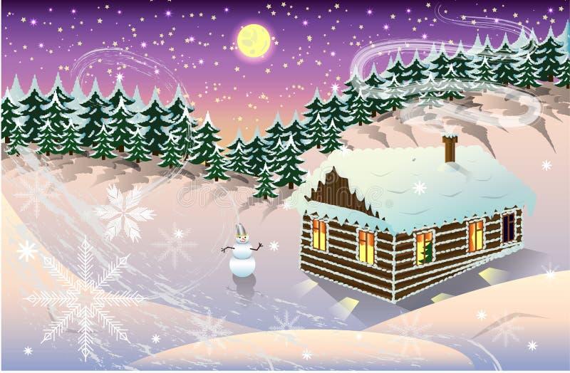 夜冬天风景有房子和森林背景 库存例证
