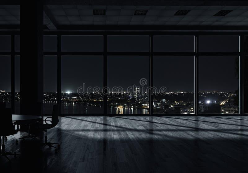 夜办公室内部 混合画法 免版税库存图片