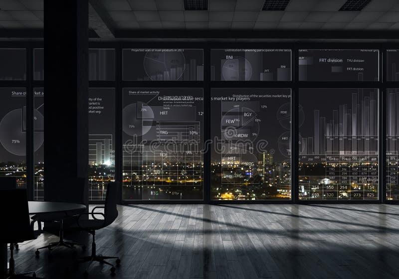 夜办公室内部 混合画法 免版税图库摄影