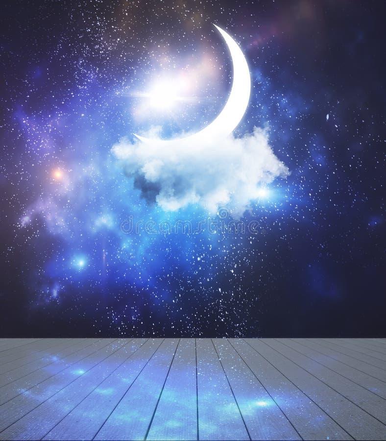 夜和想象力概念 向量例证