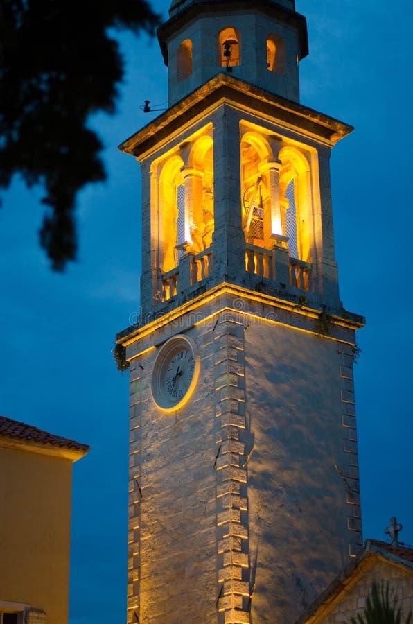 夜圣徒伊冯教会,布德瓦,Monten教堂晚上视图  免版税库存图片