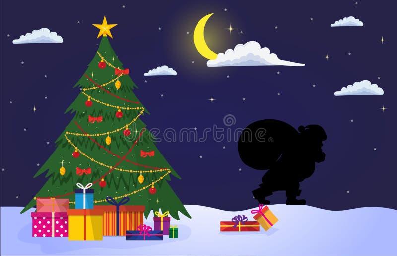 夜圣诞节风景 皇族释放例证
