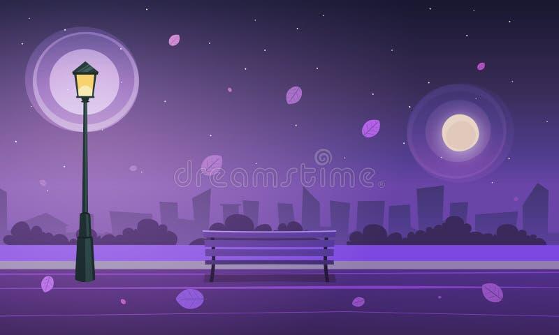 夜在城市公园 库存例证