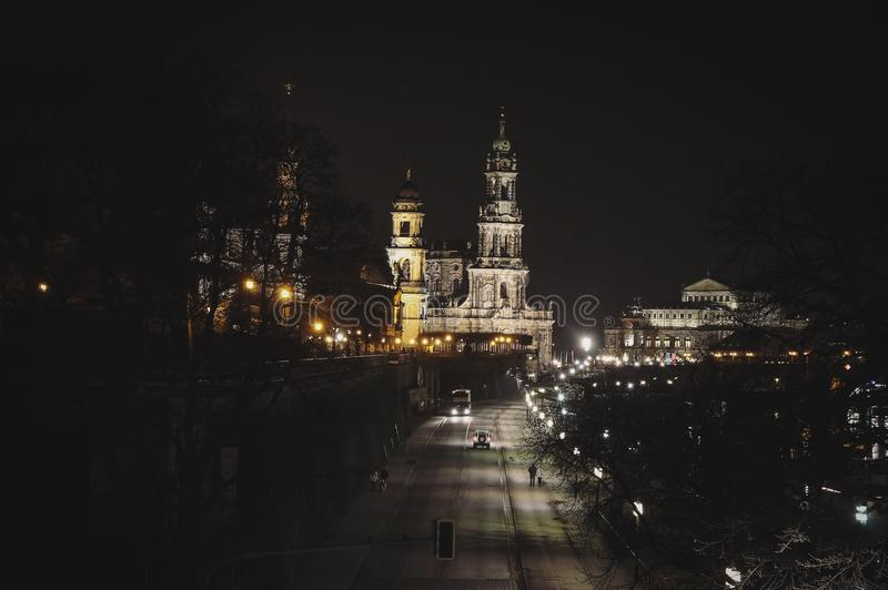 夜在德累斯顿,德国 免版税库存图片