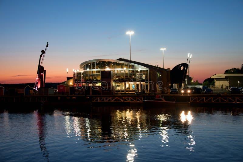 夜在悉尼,新斯科舍,港口射击了 免版税库存照片