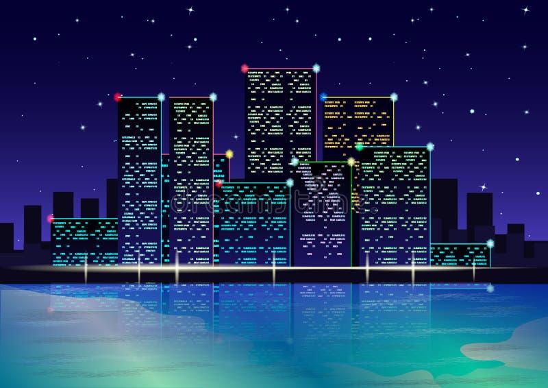 夜在海滩的城市光 霓虹灯 满天星斗的天空 库存例证
