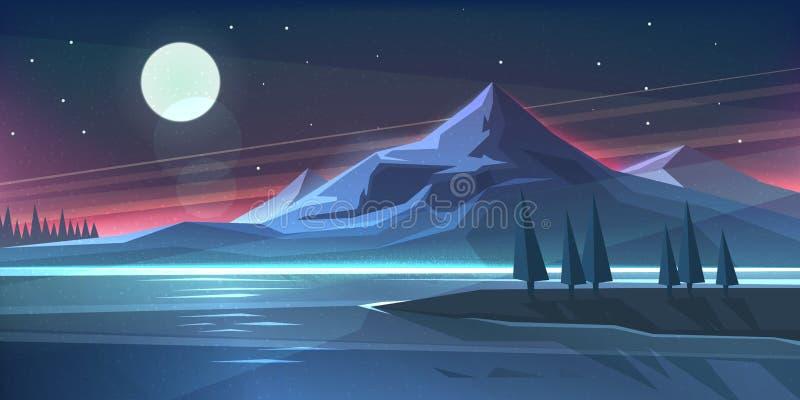 夜在湖的山风景 皇族释放例证