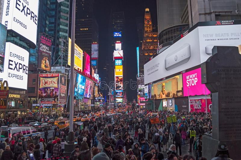 夜在纽约时常摆正 图库摄影