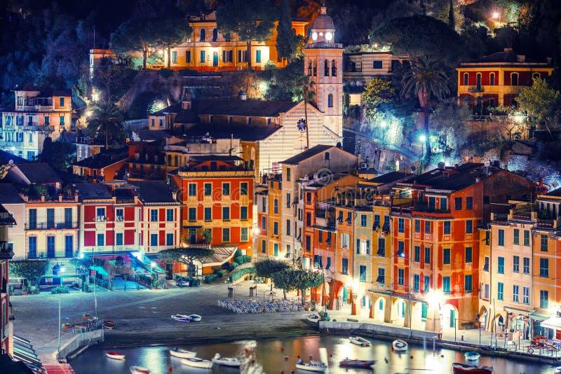 夜在菲诺港意大利 免版税库存图片