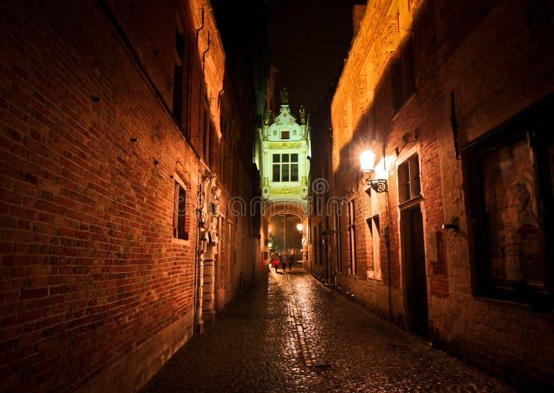 夜在雨以后的比利时街道 库存照片