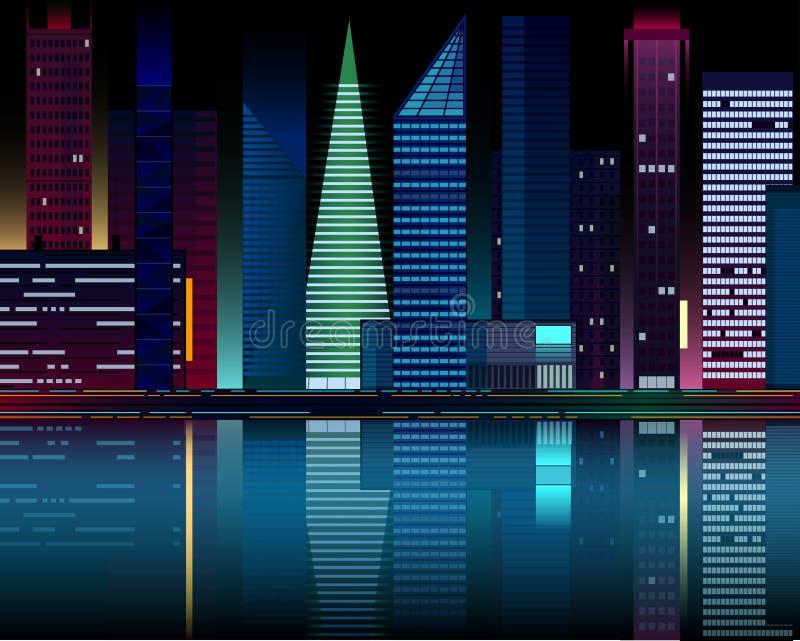夜在水反映的城市光 库存例证