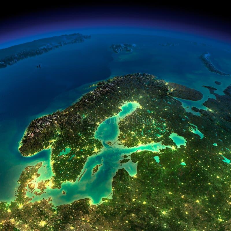夜地球。欧洲。斯堪的那维亚 皇族释放例证