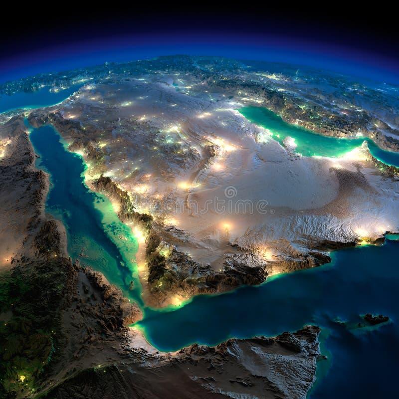 夜地球。沙特阿拉伯