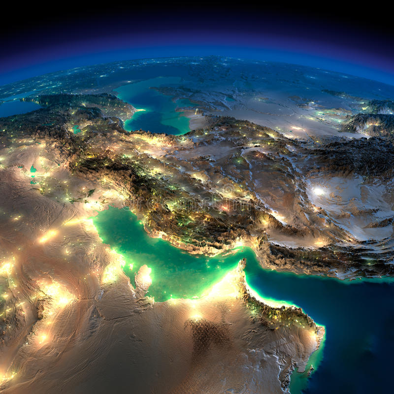 夜地球。波斯湾 向量例证