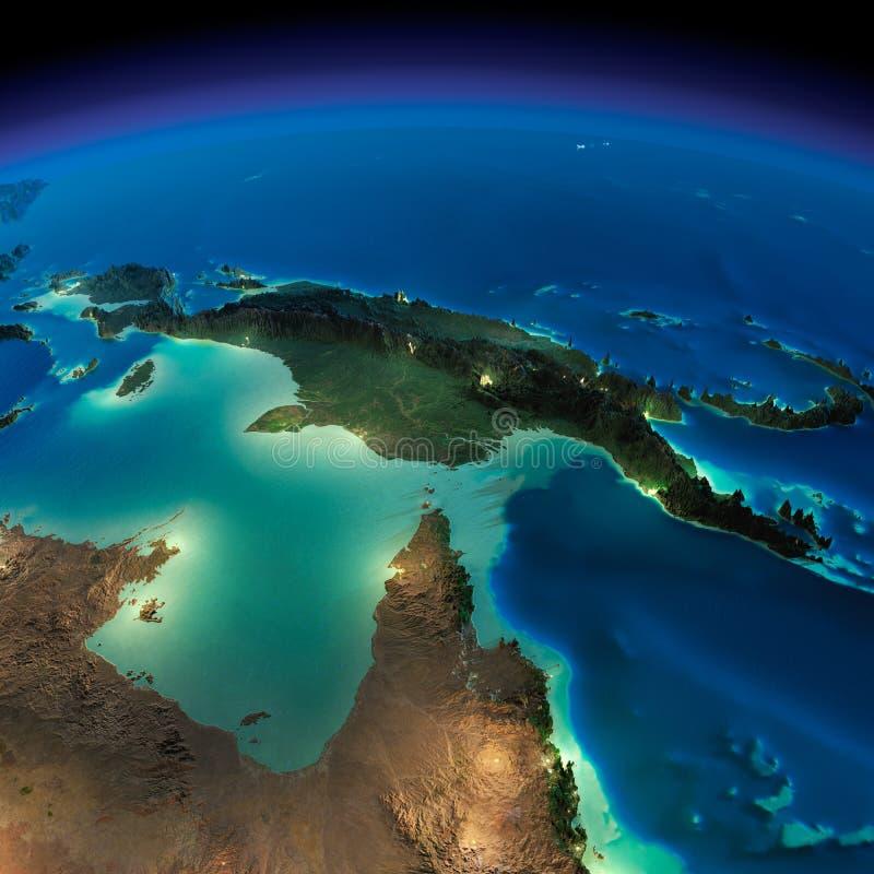 夜地球。澳大利亚和巴布亚新几内亚 皇族释放例证