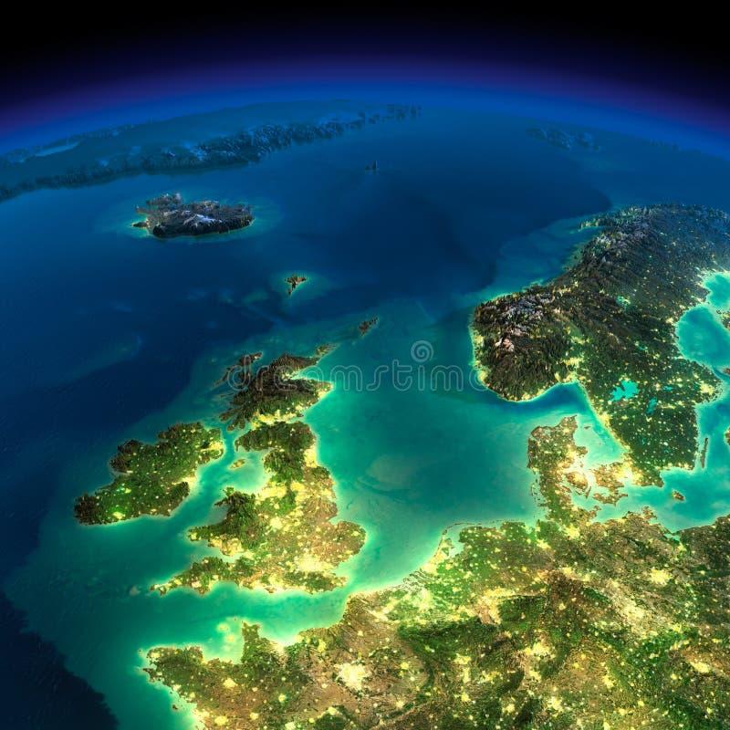 夜地球。英国和北海 向量例证