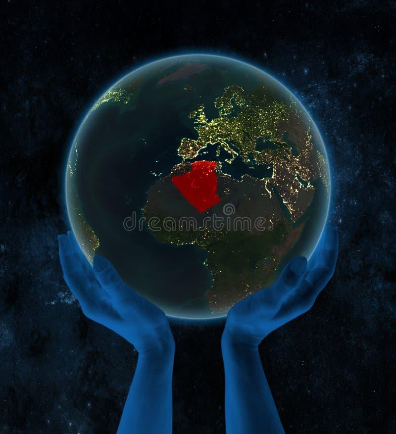 夜地球上的阿尔及利亚在空间的手上 向量例证
