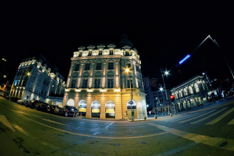 夜场面在布加勒斯特,罗马尼亚 免版税库存图片